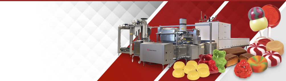 <b>High Output Cooking and Depositing</b><p>Continuous high output systems for cooking and starch-free depositing<br> of gummies, jellies hard candies, lollipops and toffees